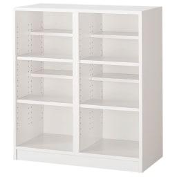 奥行39cm マガジン&レコードキャビネット ベース 段違い棚オープンタイプ2列[高さ85・幅75.5cm] (イ)ホワイト