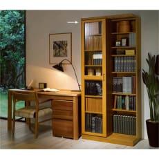 本格仕様 快適スライド書棚 タモ天然木扉付き 2列
