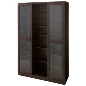本格仕様 快適スライド書棚 タモ天然木扉付き 3列 写真
