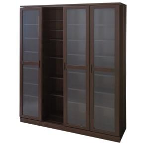 本格仕様 快適スライド書棚 タモ天然木扉付き 4列 写真