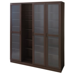 本格仕様 快適スライド書棚 タモ天然木扉付き 4列