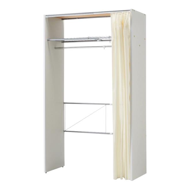 カーテン取り替え自在ハンガーラック 棚付きタイプ・幅85~125cm (ア)ホワイト シンプルなデザインなのでどんなお部屋にも設置しやすいのが特徴です。
