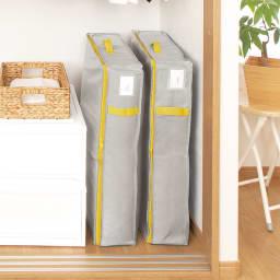コンパクトにスッキリ納まる布団収納袋 すき間用・同色2個組 使用イメージ(イ)グレー