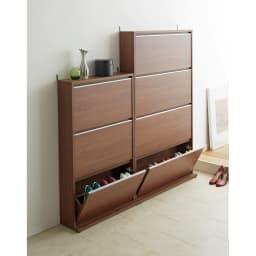 静かに閉まる薄型フラップシューズボックス シングル4段 幅90cm 使用イメージ(イ)ブラウン ※お届けはシングル4段・幅90cmタイプです。