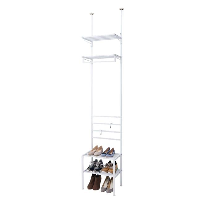 玄関のすき間を活用できる 突っ張りハンガーシューズラック 幅49.5cm (ア)ホワイト 靴の収納目安:約6足