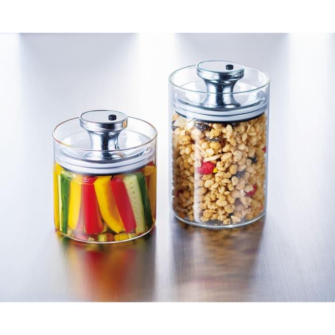 フェリオ密閉保存ガラス容器4個セット 左からSサイズ×2、Mサイズ×2