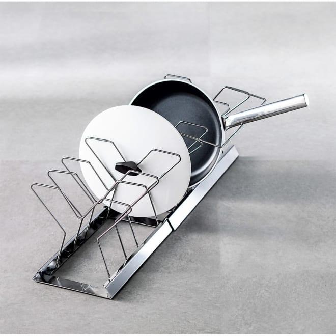 NEW引き出し用伸縮フライパン&鍋ラック 幅37.5~65cm