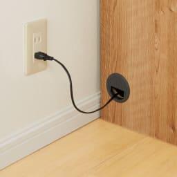 簡単に幅調節可能!スライド伸長式カウンター幅91~126cm 家電タイプ 左右にコードが通せる穴が付いています。