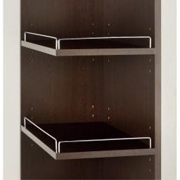 取り出しやすい2面オープンすき間収納庫 奥行44.5cm・幅15cm 前からも横からも取り出せます。 ◎オープン部の向きは左右どちらにでも設定できます。 ◎棚板は3cm間隔で可動します。