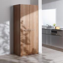 食器からストックまで入るキッチンパントリー収納庫 幅75奥行55cm (ア)ブラウン