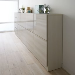 スクエア木目カウンター下収納  2列4マス 幅79cm奥行29cm 《コーディネート例》薄型の収納庫なので、廊下などの狭い空間にもおすすめです。