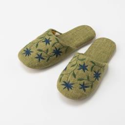 シビラ スリッパ 〈アメリア〉 色が選べる2足組(内寸 約24cm) (ウ)グリーン系