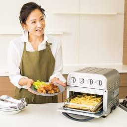 クイジナート エアフライオーブン トースター シルバー色 ミトン付きディノス特別セット【限定800個】 北澤さんも感動!温度とタイマーをセットするだけだから朝の忙しいお弁当作りにも便利。揚げていないので時間がたってもベチャッとしません。