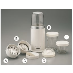 iwatani イワタニ クラシックミルサー おろしカッター&ミクロン容器付き ディノス特別セット (A)おろしカッター、(B)2枚刃カッター、(C)ふりふりキャップ、(D)ミクロン容器、(E)大容器、(F)小容器
