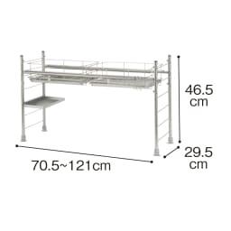 幅も高さ調節もできるマルチトレー付き水切り 2バスケットデラックス こちらにプラスまな板ホルダー・箸立て・包丁立てが付属します。