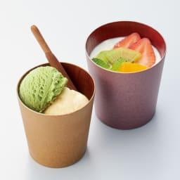 けやきのカップ 「うつろい」 山中漆器 左から(ウ)シャンパンゴールド (ア)シルキーピンク ヨーグルト、アイスクリームなどのデザートを盛っても素敵。そばちょこにもぴったりのサイズ。