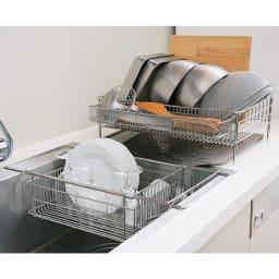 有元葉子のラバーゼ 水切り シンク内に入れて使う水切り シンクイン バスケット 洗い物が多いときは通常のタイプと一緒に使うと一気に洗い物ができて便利です