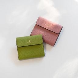 ペレボルサ コンパクト2つ折り財布 右上から(オ)コーラルピンク(WEB)、(カ)グリーン(WEB)
