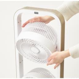 自動首振り機能付き マルチファン 2連 2連タイプは上段のファンが9段階240度回転します。