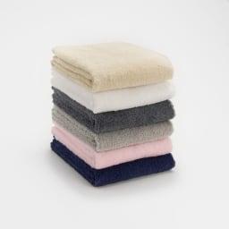 洗うほどやわらかくなるタオル フェイスタオル(色が選べる4枚組) 上から(エ)ベージュ、(ア)ホワイト、(カ)ダークグレー、(イ)グレー、(ウ)ピンク、(オ)ネイビー
