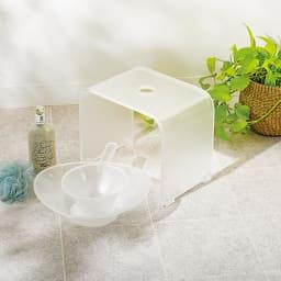 フォスキア バスシリーズ ウォッシュボール(洗面器)単品 コーディネート例 (ア)ホワイト ※バスチェアと手桶は商品に含まれません。