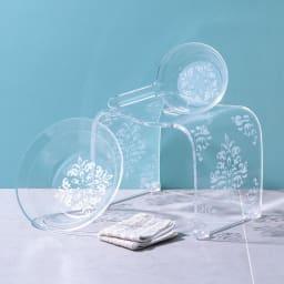 アカンサス バスシリーズ バスチェア&洗面器 (イ)クリア ※手桶は商品に含まれません。