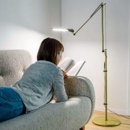 フロア型読書灯 LEDエグザーム DIVA ヘッドの角度と位置は自由に調節可能。ワイヤーサスペンション採用でなめらかな動きを実現。