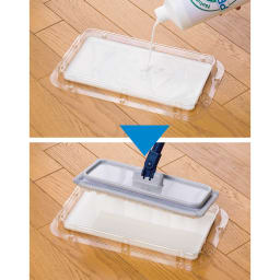 業務用ワックス「抗菌プロビュー」 1Lセット 専用のトレーを使えば初めてでもムラなくワックスが塗れます。