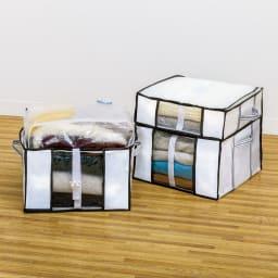 衣類用圧縮収納ボックス ハーフサイズ4個組 コーディネート例