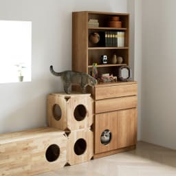 ネコ用トイレやベッドを置けるスペース付き リビング収納庫 幅60.5cm奥行45.5cm高さ180cm (イ)ブラウン ※写真は幅75.5cmタイプです。 ※お届けする商品は幅60.5cmになります。