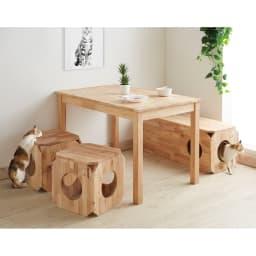 キャトハス ペットベンチ L (ペットと一緒に使える天然木ベンチ) コーディネート例 ダイニングベンチとして。 ※写真はSサイズを2個、Lサイズを1個使用しています。表示価格はLサイズ1個のものです。