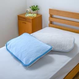 ひんやり除湿寝具デオアイスエアドライシリーズ お得な掛け敷きセット(ピローパッド付) 上から(ア)ブルー (イ)ライトグレー