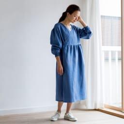 TOUCH&FEEL(R)MATA リネン100% 3WAYカシュクール割烹着 【ワンピース風Style】(ア)ブルー  前面がしっかりカバーできるので割烹着としても。