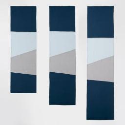 【LINEN & BASIC/リネン&ベーシック】 リネンのれん(1枚) 幅約45cm ポジャギ風(パッチワークタイプ) (イ)ブルー系 左からサイズ:丈150cm、170cm、190cm