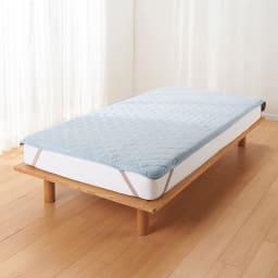 ファミリー布団用 洗える本麻敷きパッド(ファミリーサイズ・家族用) (エ)ブルー