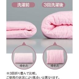 医療用の脱脂綿とガーゼを使ったパシーマ(R)EXシリーズ 先染めタイプ キルトケット 企業秘密の製法で、洗うほどにふっくら!※3回折り畳んで比較。ご使用の状況により風合いは異なります。