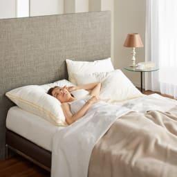 フィベールピロープレミアム 枕のみ ハーフボディ(お得な2個セット) コーディネート例