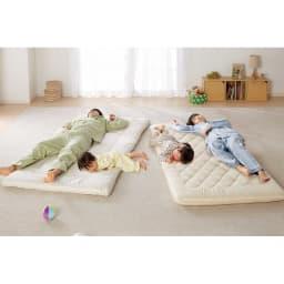 コンパクト&ワイドファミリー敷布団 ハッピー 防ダニ上層パッドのみ 敷布団がぐちゃぐちゃだと、溝にはまったり、布団から落ちてしまったり…。これだと、逆に身体が疲れちゃう。