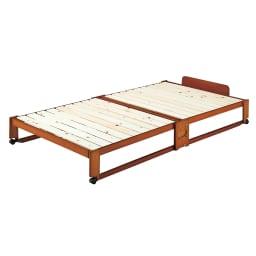 折りたたみ式ひのきすのこベッド ワイドシングル (イ)ブラウン ※写真はワイドシングルタイプです。