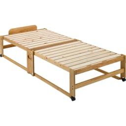 折りたたみ式ひのきすのこベッド ワイドシングルハイ (ア)ライトブラウン 床面高さ37cm。 ※写真はシングルハイタイプです。