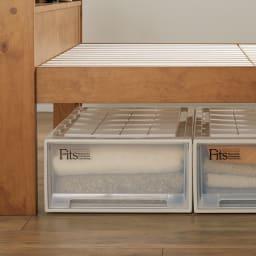 高さ2段タイプ ナチュラルカントリーなすのこベッド フレームのみ 【ベッド下高さは2段階に調節可能】32cmなら収納ケースが置けて想像以上の収納力!