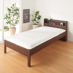 角あたりのない細すのこベッド 棚付き フレームのみ (イ)ダークブラウン ※写真はセミダブルサイズです。お届けはフレームのみとなります。