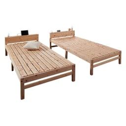 国産ひのき天然木すのこシングルベッド 棚あり お得な2点セット(フレームのみ)
