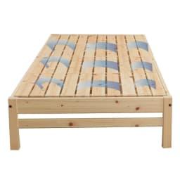 国産ひのき天然木すのこシングルベッド 棚あり お得な2点セット(フレームのみ) 床面には通気性のいいひのきすのこを採用。