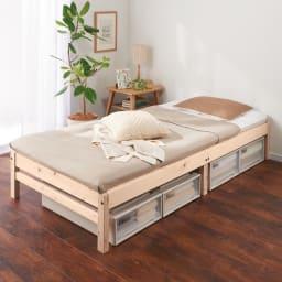 国産ひのき天然木すのこシングルベッド 棚あり お得な2点セット(ポケットコイルマットレス付き) ベッド下が高さ24cmの収納空間になります。 ※写真は棚なしタイプです。