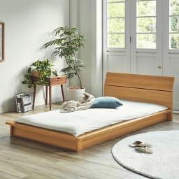 寄りかかってリラックスできる北欧テイストすのこローベッド (通常すのこ・ボンネルコイルマットレス付き) すのこベッドはマットレスも布団もどちらにも使えます。