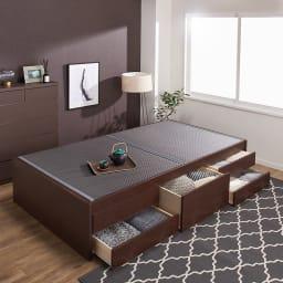 美草畳収納付きベッド 棚なし (ア)ブラック ※写真はセミダブルサイズです。
