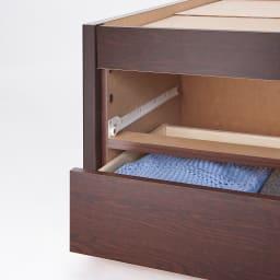 美草畳収納付きベッド 棚なし 引き出しはホコリが入りにくいボックス仕様。