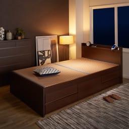 美草畳収納付きベッド 棚あり (イ)ブラウン ※写真はセミダブルサイズです。