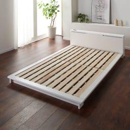 照明付きステージすのこベッド マットレス付き(国産ボンネルコイルマットレス付き) ベッドフレーム…(ア)ホワイト